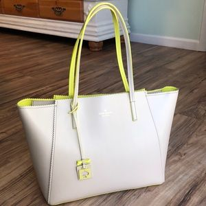 Kate Spade large Loyrn neon yellow beige tote bag